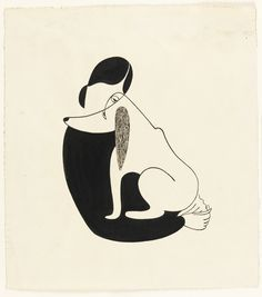 Christina Malman, Woman and a Dog, 1935, Brush and black ink, white gouache on paper, 31,1 x 28 cm, Coopper Hewitt, Smithsonian Design Museum, New York