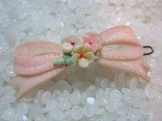 vintage Celluloid  hair barrette soft pink bow by rosebudcottage, $13.50