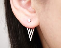 Silver Triangle Ear Jacket Earrings, Two Side Earrings, Ear Jackets