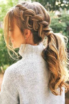 33 Braid Styles To Try Out To Charm Them All French braid ponytail. Trendy hair styles for long hair. The post 33 Braid Styles To Try Out To Charm Them All appeared first on Haar. Box Braids Hairstyles, Cool Hairstyles, Bangs Hairstyle, Hairstyle Ideas, Beautiful Hairstyles, Hair Updo, Hairstyle Short, Hairstyles 2018, Wedding Hairstyle