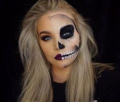 """HALLOWEEN 2016 Day 4: """"Half skull"""" PRODUCTS: BROWS: @anastasiabeverlyhills Brow powder in """"Soft Brown"""" EYES: @anastasiabeverlyhills Shadows """"Sienna"""" """"Burnt Orange"""" """"Beauty Mark"""" and """"Noir"""" @stilacosmetics Stay all Day Liquid Liner, @toofaced """"Better than Sex"""" mascara FACE: @urbandecaycosmetics Naken Skin Foundation in """"1.0"""" and concealor in """"Light Warm"""" @katvondbeauty Lock it Powder Foundation in """"Light 45"""" anastasiabeverlyhills Contour Kit @beccacosmetics Shimmering Skin Perfect..."""