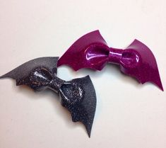 Colored bat bow on Etsy, $5.00
