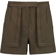 Halston Heritage Stretch-crepe shorts (160 AUD) ❤ liked on Polyvore featuring shorts, army green, army green shorts, olive shorts, mid rise shorts, halston heritage and olive green shorts