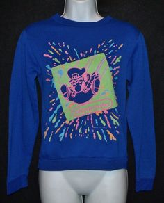 Rare Vtg 1990 NiNTENDO Mario video game neon splash sweatshirt kid fit/ XS women in Clothing, Shoes & Accessories, Vintage, Children's Vintage Clothing, 1990s (Grunge, Goth, Hip Hop) | eBay