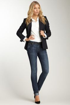 Blazers with jeans and heels. Classic. #heels #blazer #fashion