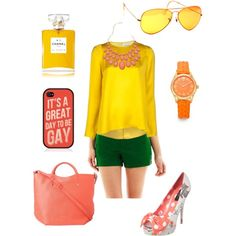 """Funky yellow."" by moniquemrivera on Polyvore"