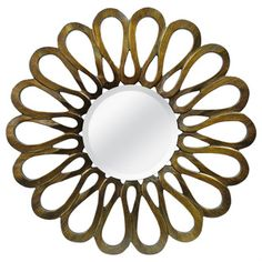 @Overstock.com - Flower Petal Bronze Round Mirror - Admire your reflection in this inventive round mirror. The border is inspired by the recognizable outline of a freshly blossomed flower, and the bronze metal finish gives an elegant addition that'll bring character to any indoor wall.  http://www.overstock.com/Home-Garden/Flower-Petal-Bronze-Round-Mirror/7857912/product.html?CID=214117 $159.00