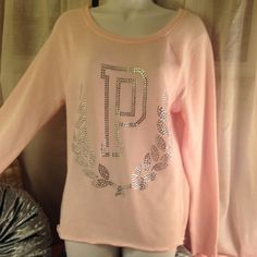NWOT pink vs sweater with diamonds Size xs would fit a small too all diamonds in tact no defects thin sweater could be with non spring too color is light baby pink PINK Victoria's Secret Sweaters Crew & Scoop Necks