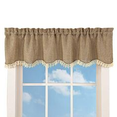 Collections Etc Charming Rustic Burlap Brown and Cream Lace Window Valance with Rod Pocket for Easy Hanging, Brown | CountryCurtains Burlap Valance, Ruffle Curtains, Lace Window, Sheer Curtain Panels, Curtain Hanging, Collections Etc, Primitive Kitchen, Burlap Kitchen, Country Curtains