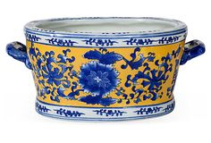 Vintage Chinese Planter $225/500 15L x 9w x 6.5H blue/white/yellow