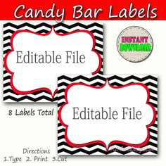 Candy Buffet Labels  Chevron Red Black Print EDITABLE Card, Custom Candy, Popcorn, Snack, Ice Cream, Cookie Buffet Labels, Instant Download