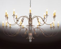 The Federalist Designs - 6 Metal and wood chandelier. Shown in distressed black paint and aged tin finish. See below for various sizes and lights