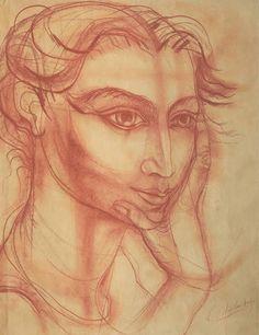 Lino Enea Spilimbergo (Argentinian 1896-1964) -  Estudio de cabeza de mujer.