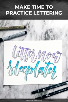 Make time to practice your lettering skills with these helpful tips #byamandakay #handlettering Calligraphy Tutorial, Hand Lettering Tutorial, Doodle Lettering, Brush Lettering, Pretty Fonts Alphabet, Calligraphy Practice, Ring True, Illuminated Letters, Pen And Paper