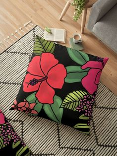 """""""Tropical Flowers Illustration"""" Floor Pillow by Floor Pillows, Throw Pillows, Tropical Flowers, Handmade Decorations, Sell Your Art, Pillow Design, Decorative Items, Flooring, Illustration"""
