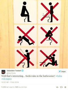 A Sochi... vietato pescare nel wc! E altre strane indicazioni.. http://tuttacronaca.wordpress.com/2014/02/03/a-sochi-vietato-pescare-nel-wc-e-altre-strane-indicazioni/.