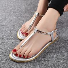 >> Click to Buy << 2017 Fashion women flat sandals silver flip flops women summer gladiator sandals beach shoes Lady Oxford shoes superstar shoes #Affiliate