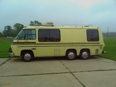 """camper GMC Motorhome '70 s  - some of my friends had one of these we nicknamed it the """"party barge"""" as they never camped in it....."""