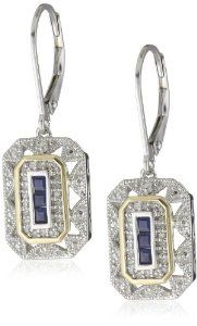 Amazon.com: S&G Sterling Silver and 14k Yellow Gold Blue Sapphire with Diamond-Accent Art Deco-Style Drop Earrings (0.12 cttw, I-J Color, I3 Clarity): Jewelry