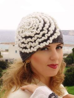 Gray, grey crochet Hat adult youth  with white ruches. €30,00, via Etsy.