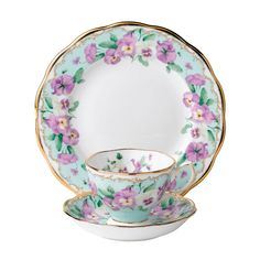 Royal Albert Sentiments Pansy Teacup, Saucer, Plate. Another pretty china pattern,