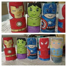 Toilet paper roll Heroes! When my kid was too small for action figures I thought of using something cheap and easy so he could have his Avengers :-) really fun to make! Also made LOTR characters! You can make anything you like :-)