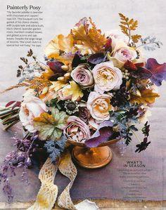 purple + gold bouquet
