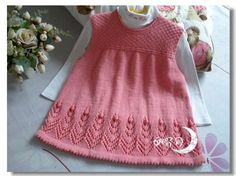 Risultati immagini per knitting baby dress canesu Girls Knitted Dress, Knit Baby Dress, Baby Cardigan, Knitted Baby, Cute Baby Dresses, Little Girl Dresses, Girls Dresses, Baby Dress Patterns, Baby Knitting Patterns