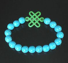 Charm Turquoise green Chinese Knot Bead baby blue Vein Beads Stretch Bracelet q, $$4.50