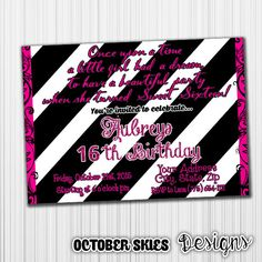Sweet Sixteen Birthday Invitation Surprise by OctoberSkiesDesigns