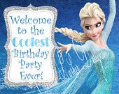Frozen Party Welcome Sign, DIY Printable, Frozen Door Sign, Party Sign