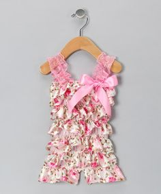 Look at this #zulilyfind! Just For Girls Pink & White Rose Satin Ruffle Romper - Infant & Toddler by Just For Girls #zulilyfinds