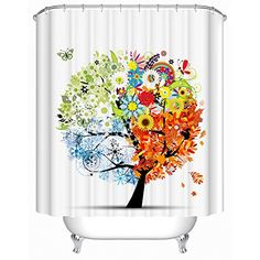 Uphome 72 X 72 Inch Colorful and Elegant Four Season Tree Kids Bathroom Shower Curtains - Flower & Butterfly White Bath Curtain Bathroom Decoration Accessories Uphome http://www.amazon.com/dp/B011U0Y176/ref=cm_sw_r_pi_dp_lps2vb1PHYKTN