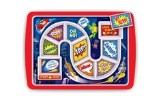 Entertain your youngster while also encouraging them to eat their meals with these fun boardgame plates that lead kids on food adventures