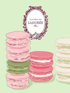 Laduree, Paris macaron watercolor print