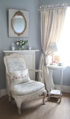 smokey blue grey with creamy chair in pretty floral. (note to self:  Cream or white for new chair)