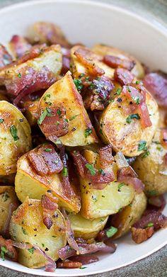 Warm, Roasted Baby Potato Salad with Crispy Bacon, Caramelized Onion, and Warm Bacon Vinaigrette | Foodboum
