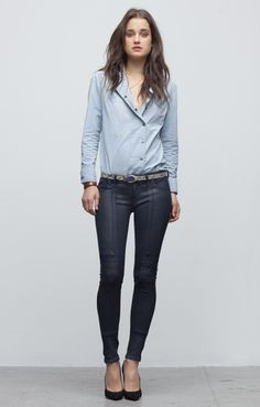 Love the moto-inspired pants and the asymmetrical button down shirt! Citizens of Humanity