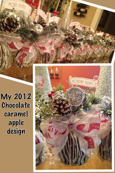 Gourmet Chocolate caramel apples.  I made these as favors for my Christmas eve party.