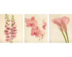 Botanical Print Set, Pink Flower Photography, Foxglove, Orchid, Calla Lily, Floral Wall Art, Botanical Wall Art, Set of 3 Prints