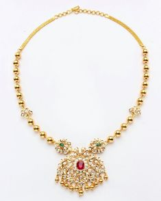 Simple gold balls neckpeice with pendant studded with mossainites. Gold Necklace Simple, Gold Jewelry Simple, Cheap Jewelry, Antique Jewellery Designs, Gold Jewellery Design, Pendant Jewelry, Gold Pendant, Diamond Pendant, Pendant Necklace