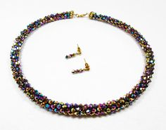 Purple and Gold Bicone Kumihimo Necklace by kiddercreations, $52.00