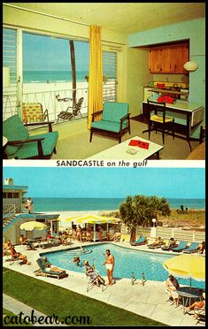 Today's lovely vintage postcard features the Sandcastle on Lido Beach, Sarasota Florida. It has a glorious room view and a view of the pool! Florida Pool, Sarasota Florida, Old Florida, Vintage Hotels, Vintage Travel, Beach Hotels, Hotels And Resorts, Century Hotel, Mid Century