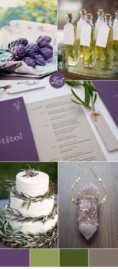 jewel tones inspired amethyst purple and olive green wedding color ideas