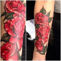 Got to have fun with roses today #rosetattoo #roses #forearmtattoo #neotraditional