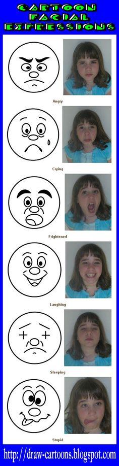 How to draw cartoon facial expressions