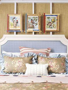 Beachy Bedroom on BHG.com | The Lettered Cottage | Picture frames from vintage yardsticks