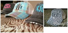 Monogrammed Trucker Hats: leopard , plaid, distressed.  Perfect for the pool, beach, vacation.