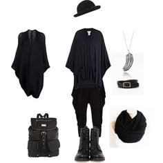 """All black mori boy"" by shortcuttothestars on Polyvore"