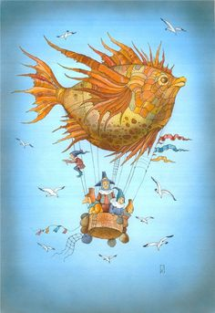 Some people with an elf flying in the sky with a fish balloon.